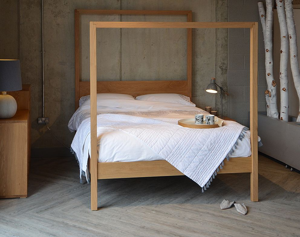 Contemporary Four Poster Bed the oasis modern 4 poster bed, hand crafted in the uk | four