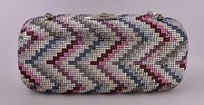 Authentic Judith Leiber Pink Crystal Miniaudiere Chevron Clutch w/ Strap