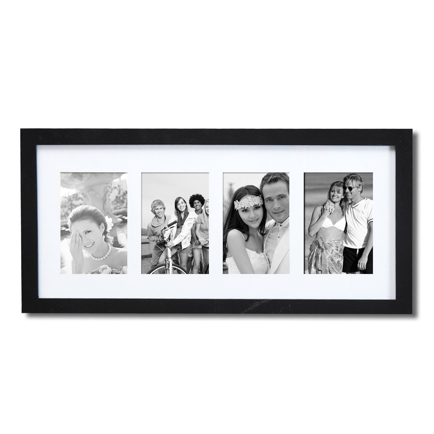Adeco Decorative Black Wood Wall Hanging Picture Photo Frame With ...