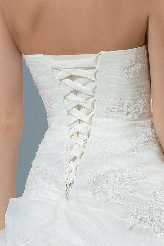 Prinzessin bodenlanges Brautkleid mit Rücken Schnürung mit Rüschen - Bild 5