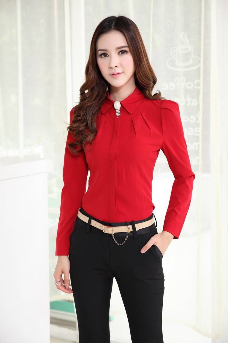 Blusa de la gasa para mujer de la oficina formal blusas Diseno de uniformes para oficina 2017