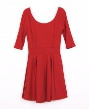 Red Flared Pleated Dress with Deep Scooped Back