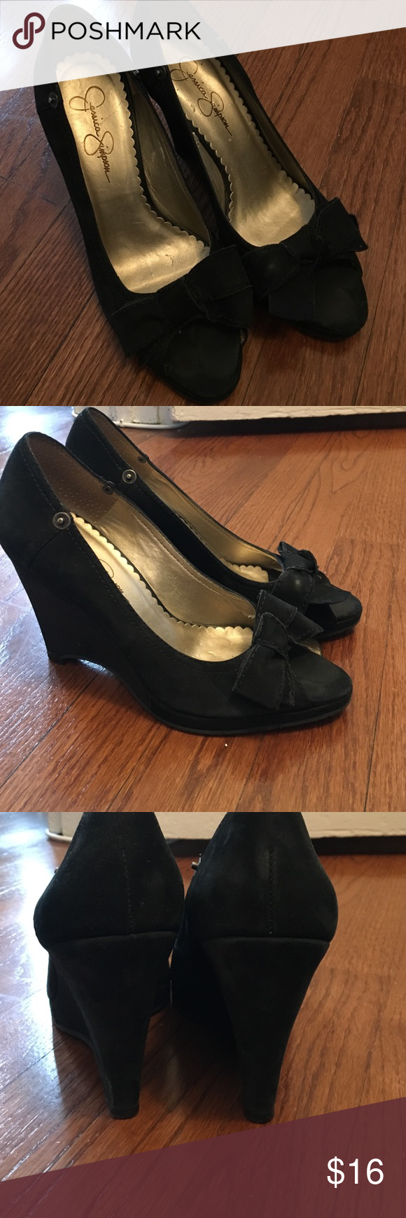 Jessica Simpson Black Heels Black suede Jessica Simpson heels. In good condition. Beautiful bows on the front. Very comfortable shoes. A few signs of wear but in overall good shape. Jessica Simpson Shoes Heels