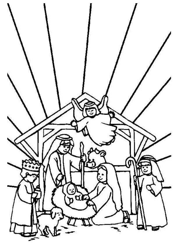 Kerst Kleurplaten Josef Maria En Jesus Samen Met De Engel Fatnes