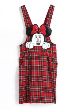 Embroidered Cartoon Pattern Plaid Midi Dress with Shoulder-Straps