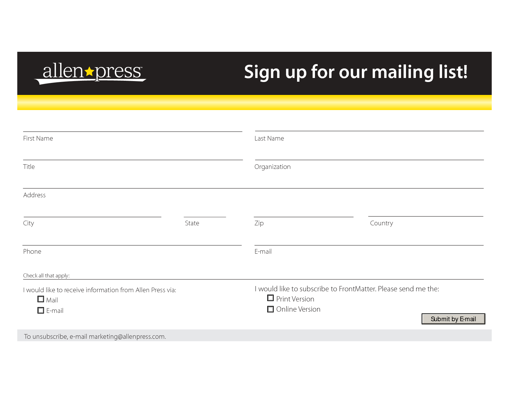 Mailing List Form Template Sign Up For Our Mailing List