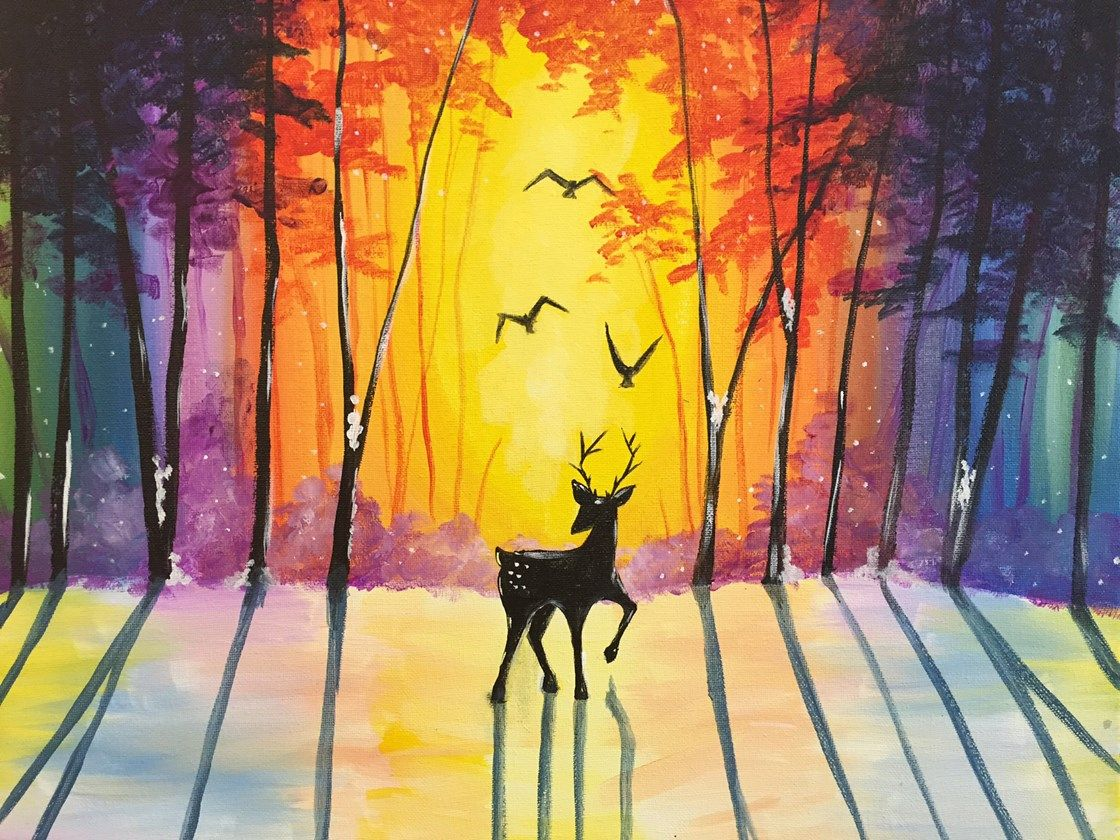 What S More Beautiful Or Elegant Than A Deer At Sunrise Warm Up With Loved Ones While Enjoying A Class And Your Favorit Art Painting Painting Sunrise Painting
