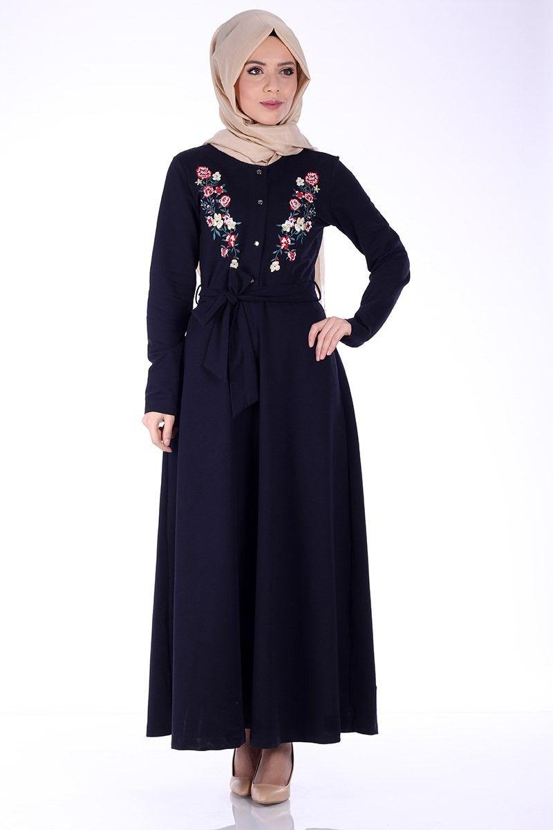 Siyah Nakisli Tesettur Penye Elbise Modelleri Elbise Modelleri Elbise Moda Stilleri
