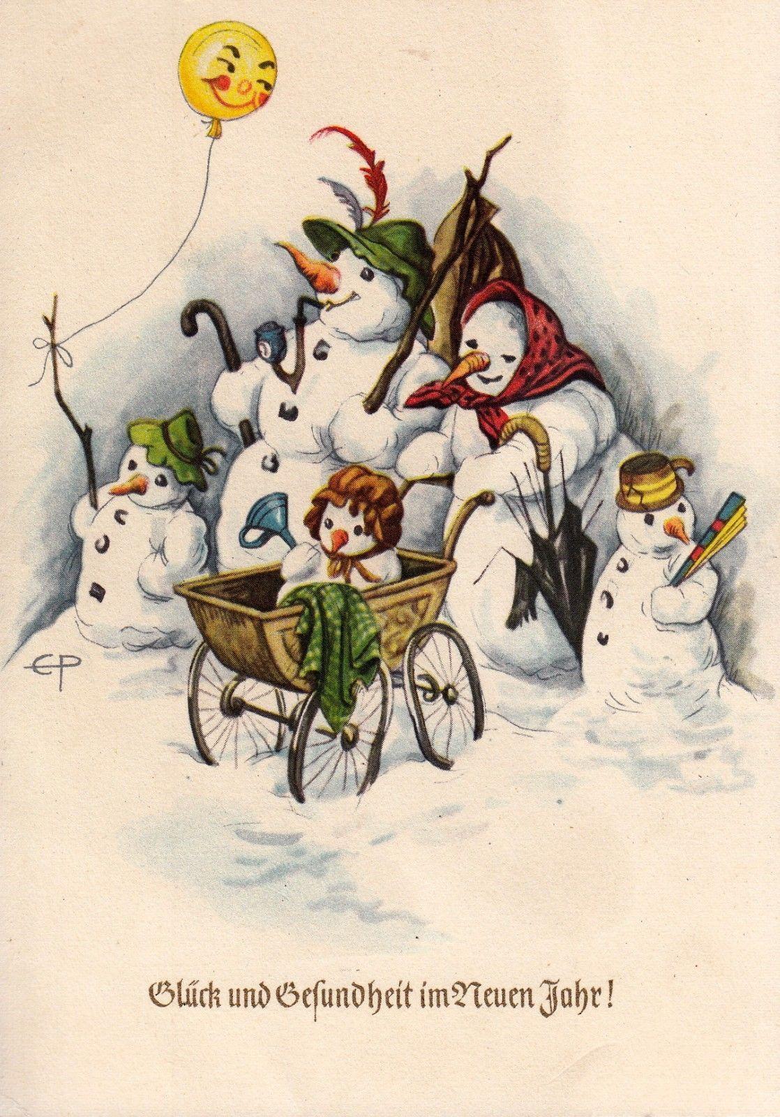 Nostalgische Adventskalender Karte God Jul Wichtel mit Schlitten im Schnee