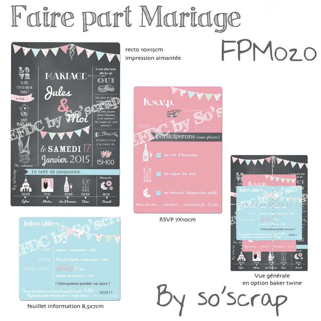 faire part mariage invitation rsvp original sur mesure. Black Bedroom Furniture Sets. Home Design Ideas