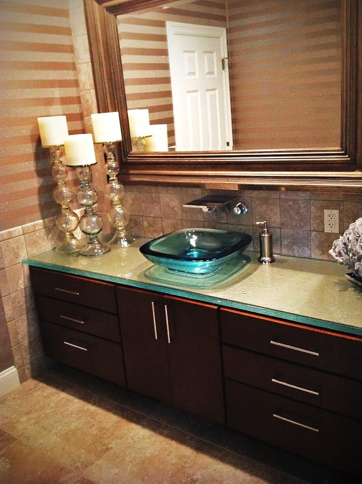 Led Glass Countertop Vanity With 3 Thick Vessel Sink By Studio L