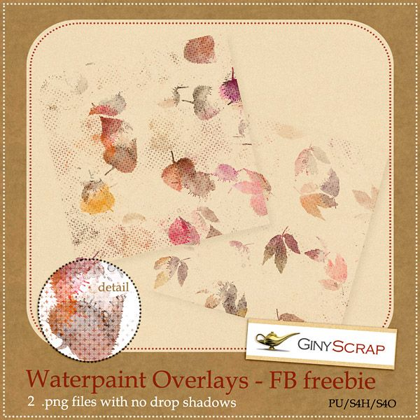 Quality DigiScrap Freebies: Waterpaint Overlays and Autumn paper pack freebies from Giny Scrap