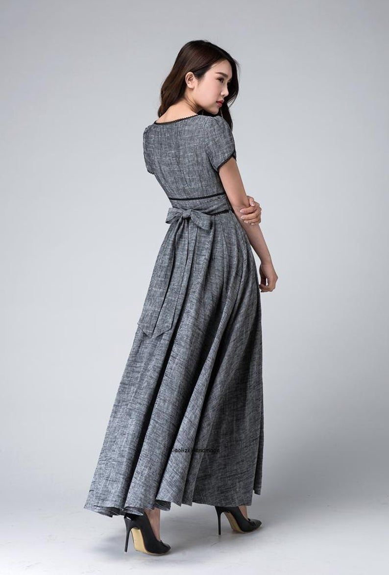 Retro Empire waist maxi dress Linen dress Bridesmaid dress