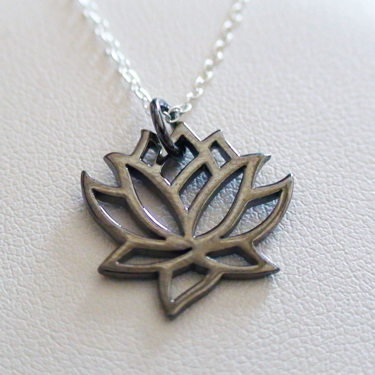 Black lotus flower necklace sterling silver lotus charm