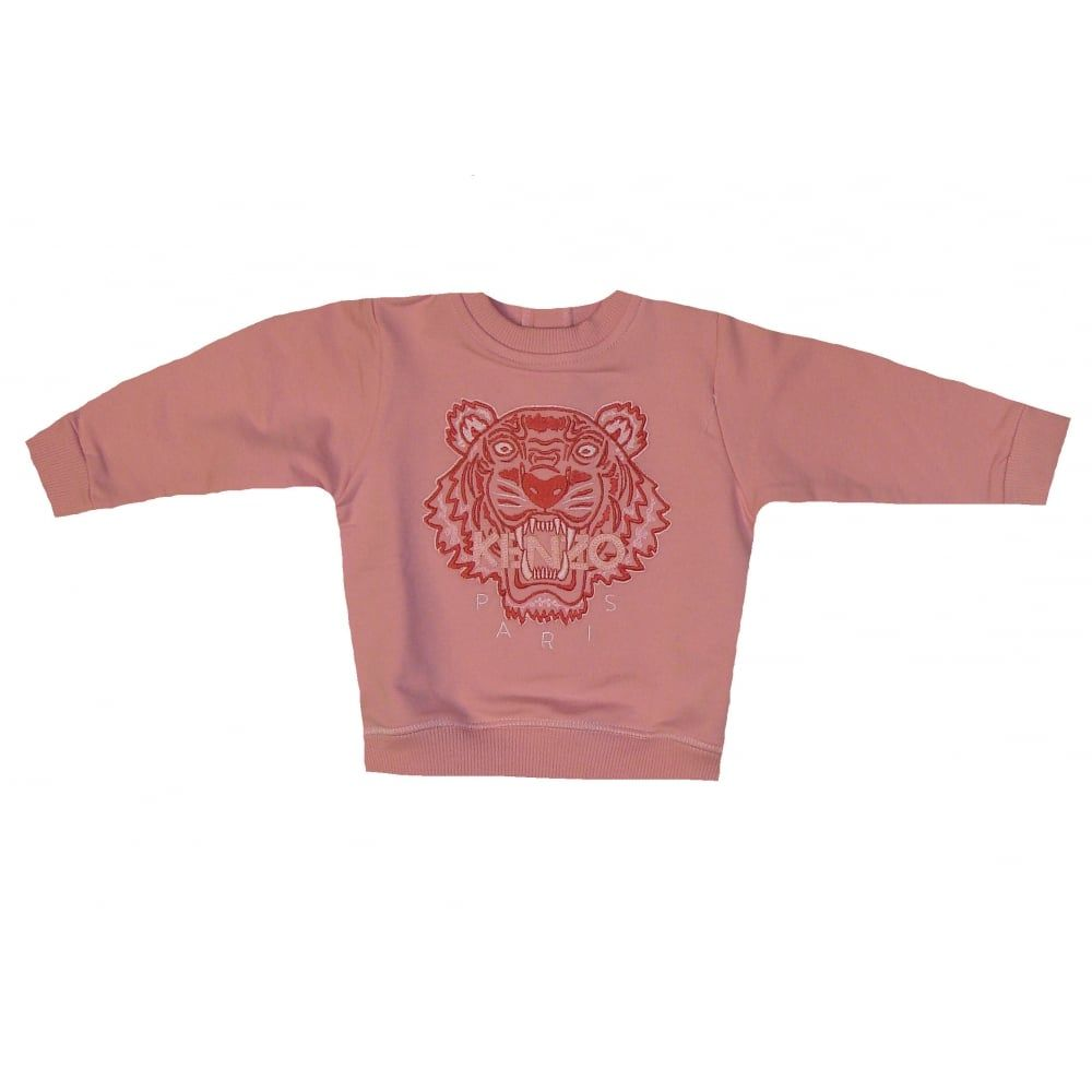 facd7686e Kenzo Kids Girls Pink Sweater With Tiger Print. | fashion baby ...