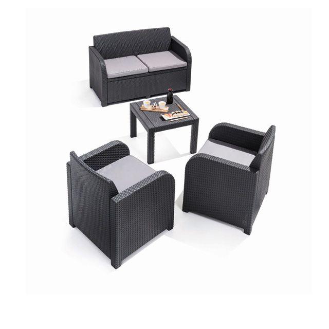 Salon Georgia, 1 canapé + 2 fauteuils + 1 table basse - CASTORAMA ...