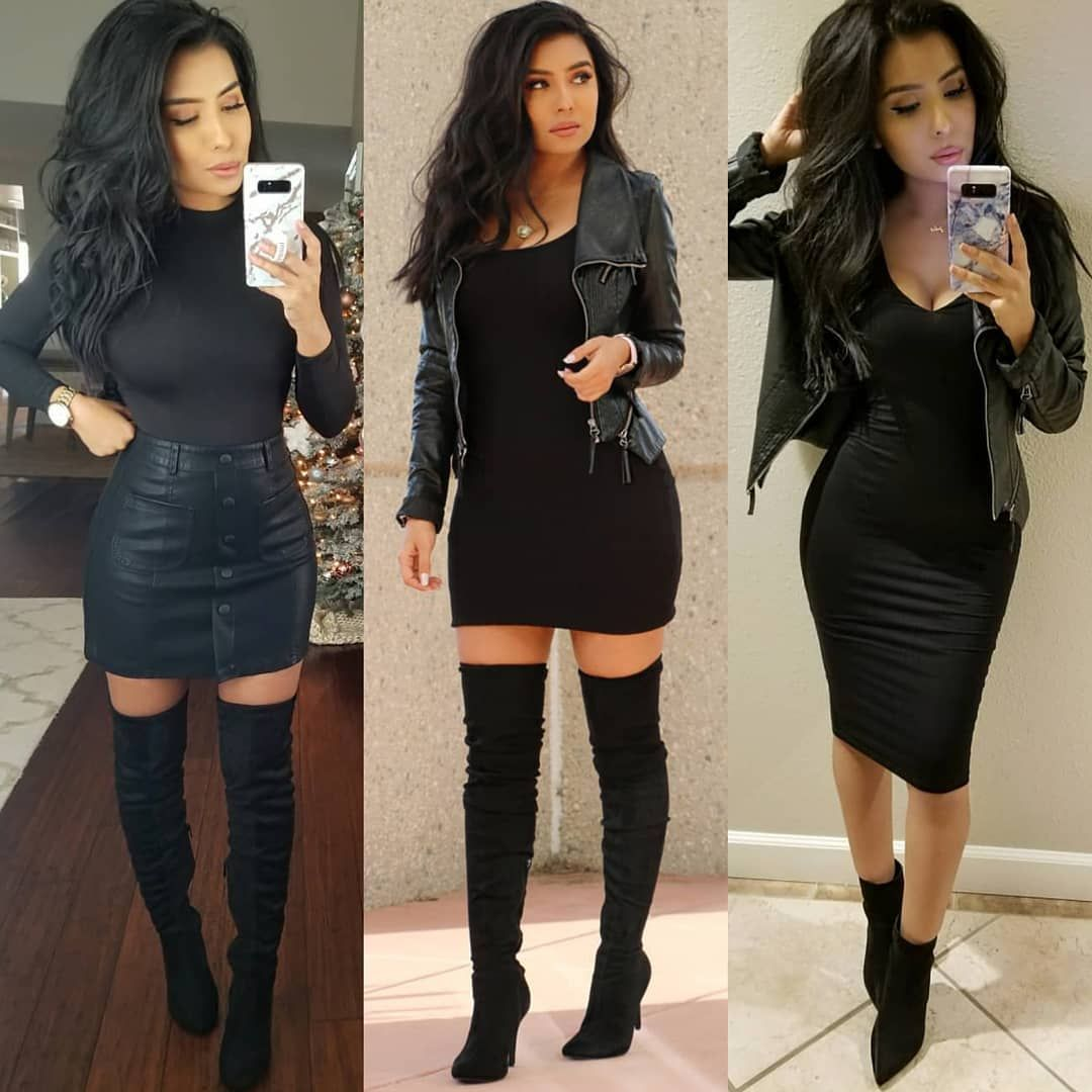 Monica Gabriela On Instagram All Black What Style Is Your Fav 1 2 Or 3 Allblackeveryt Winter Outfits Dressy Winter Fashion Outfits Fall Fashion Outfits [ 1080 x 1080 Pixel ]