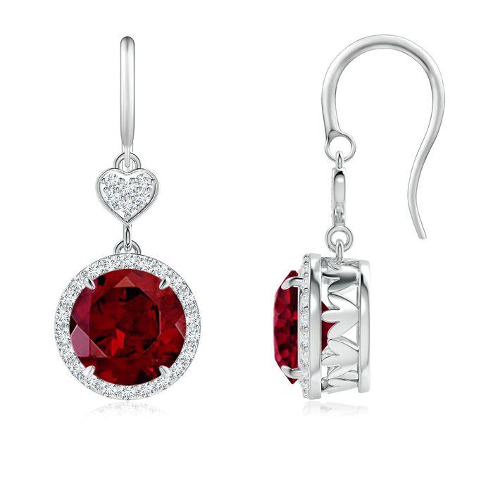 Angara Two Tier Claw-Set Garnet Dangle Earrings with Diamond Halo JbH3n