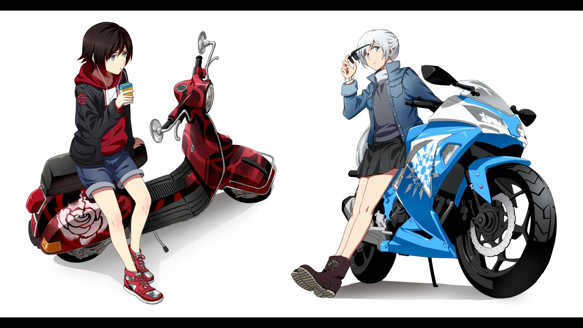 Anime Rwby Motorcycle Weiss Schnee Ruby Rose Rwby Wallpaper Rwby Wallpaper Rwby Rwby Anime