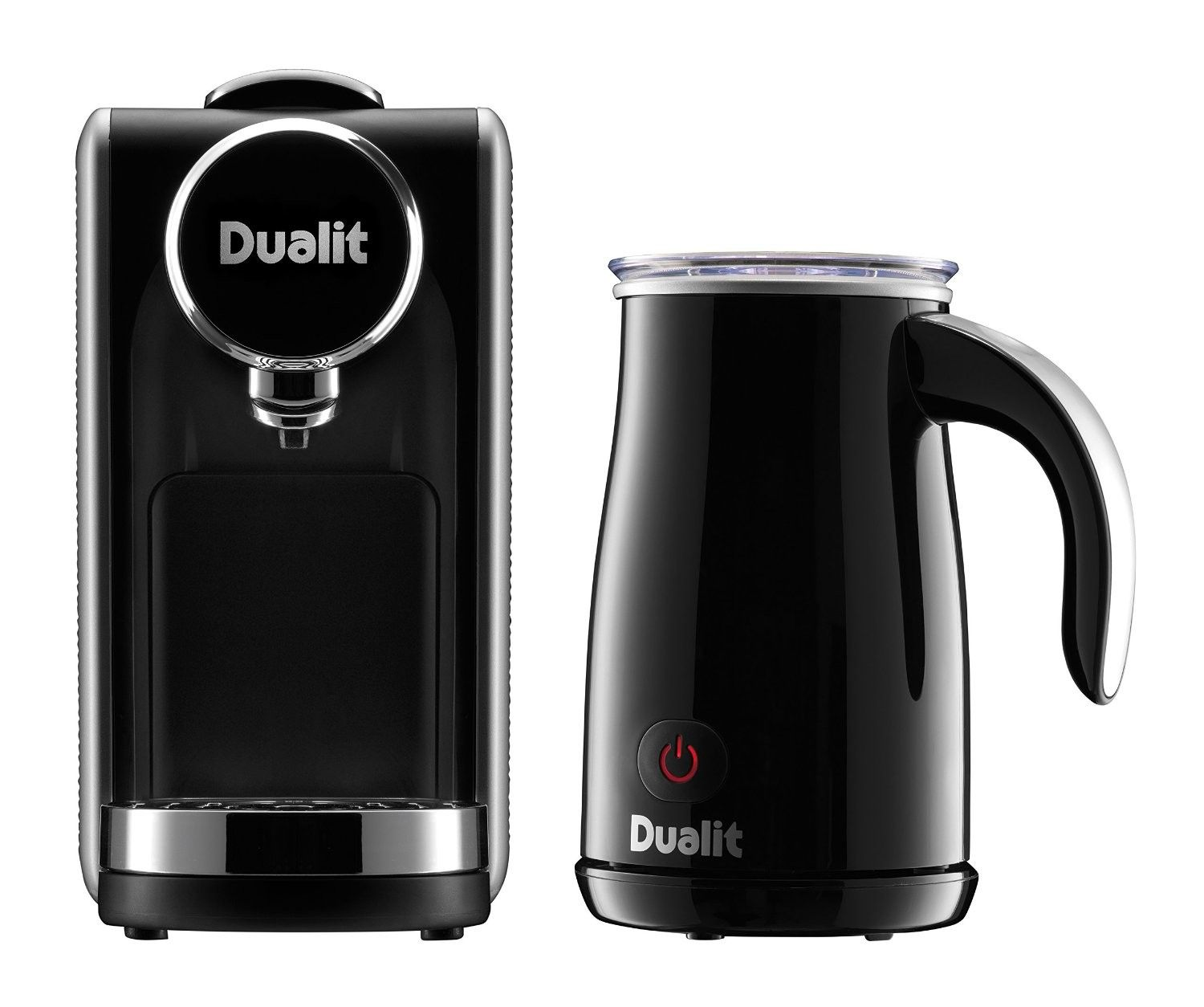 Dualit Lusso Black Coffee Machine and Milk Frother Home