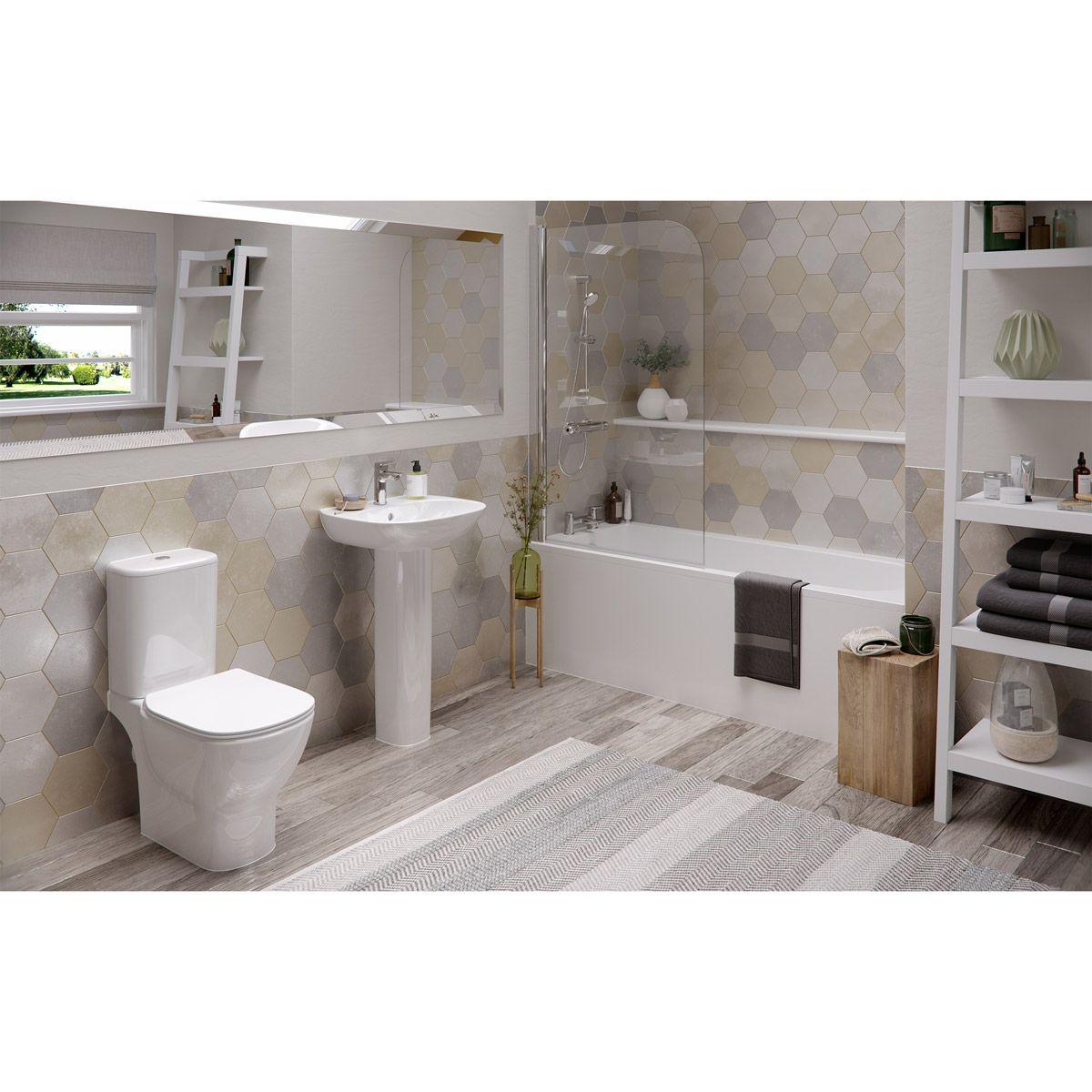Ideal Standard Tesi Complete Bathroom Suite With Straight Bath Radius Bathscreen Taps Panel And Waste Straight Baths Complete Bathrooms Bathroom Suite