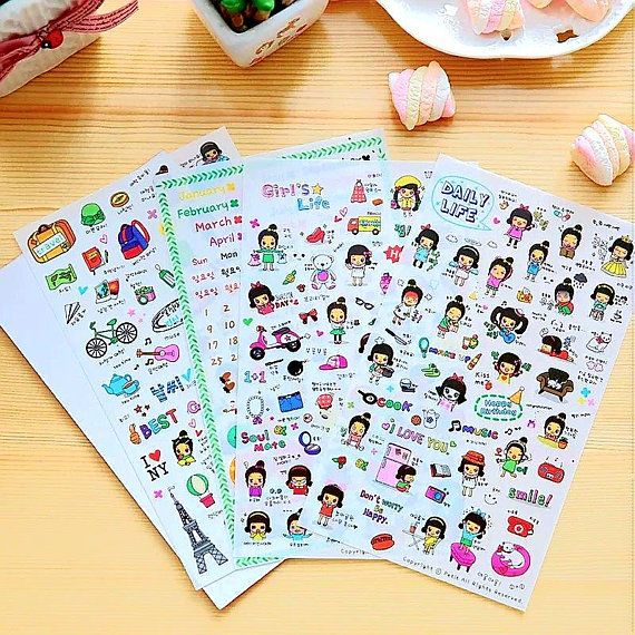 Girl Planner Stickers Scrapbooking Agenda Stickers Daily Life