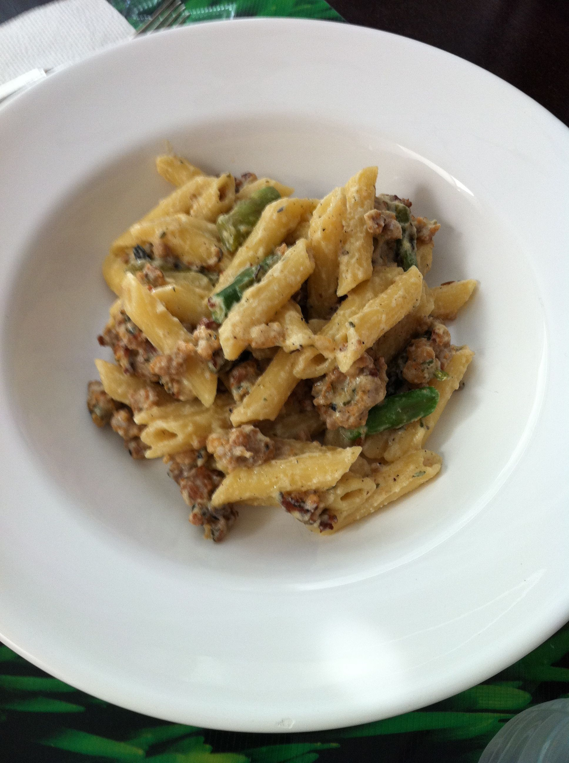 ... - penne pasta with ricotta cheese, roasted asparagus, and sausage