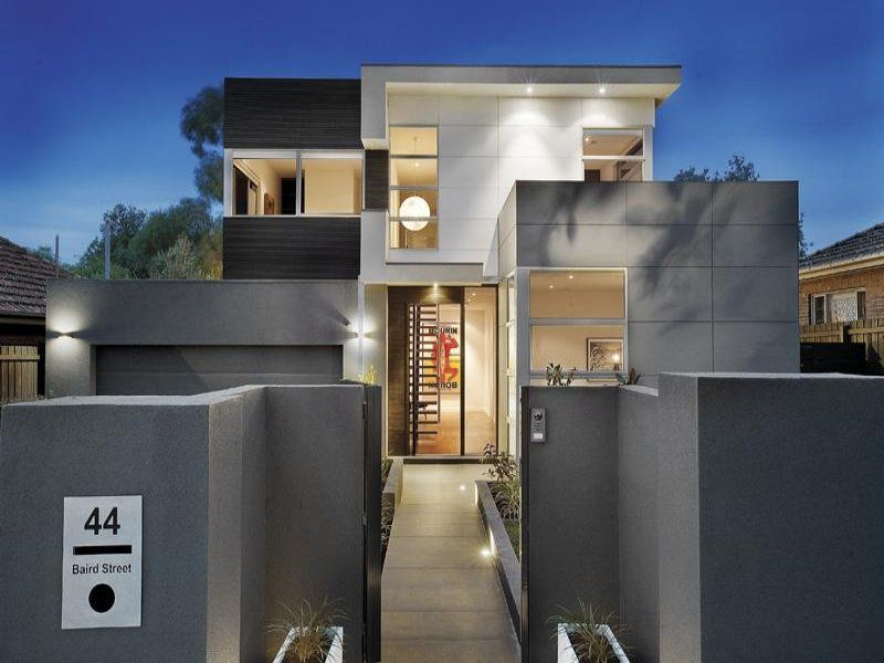 modern house exterior with balconydecorative lighting