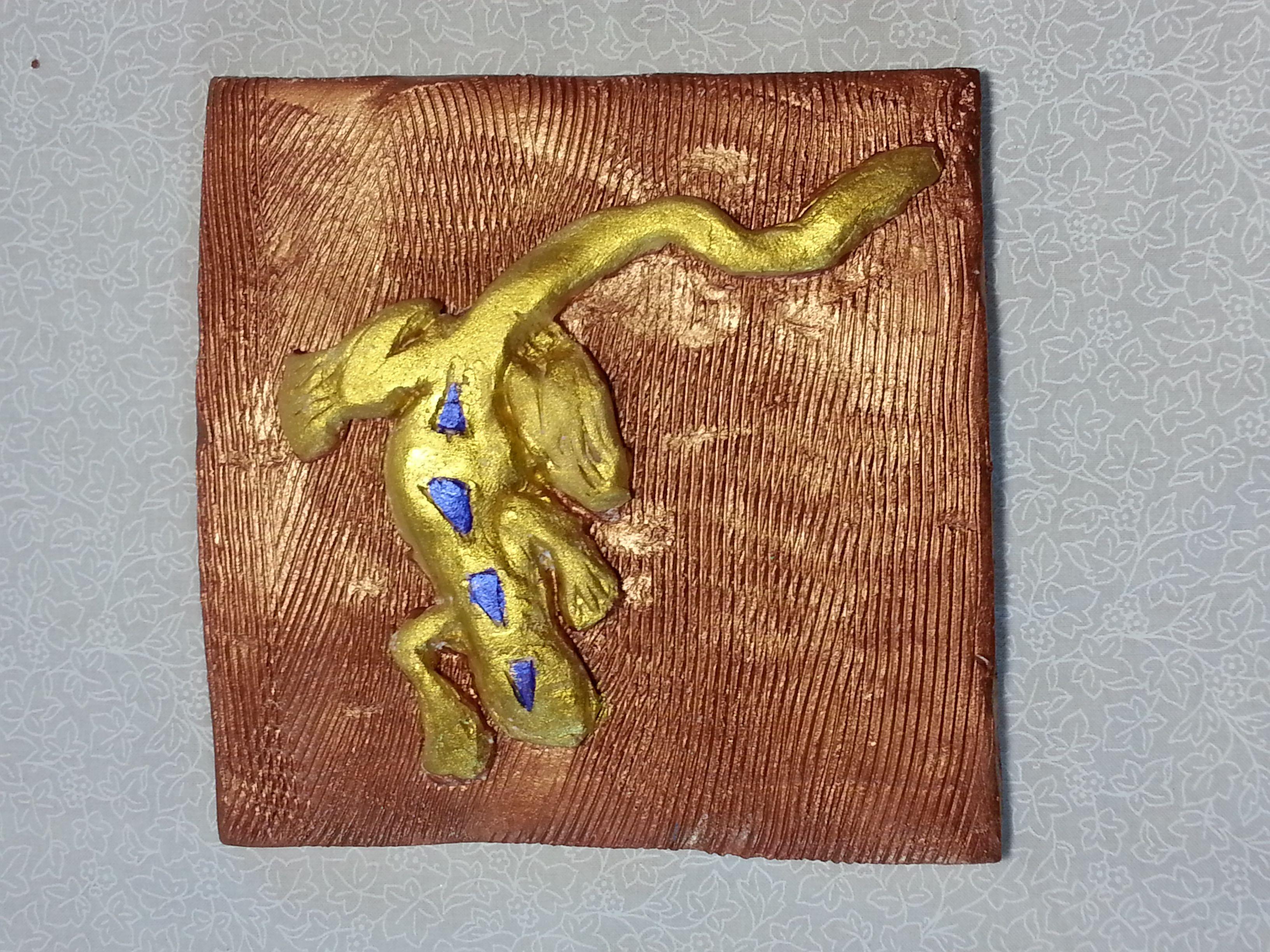 Samuel turner gold lizard tile mixed media ceramic and acrylics samuel turner gold lizard tile mixed media ceramic and acrylics dailygadgetfo Images