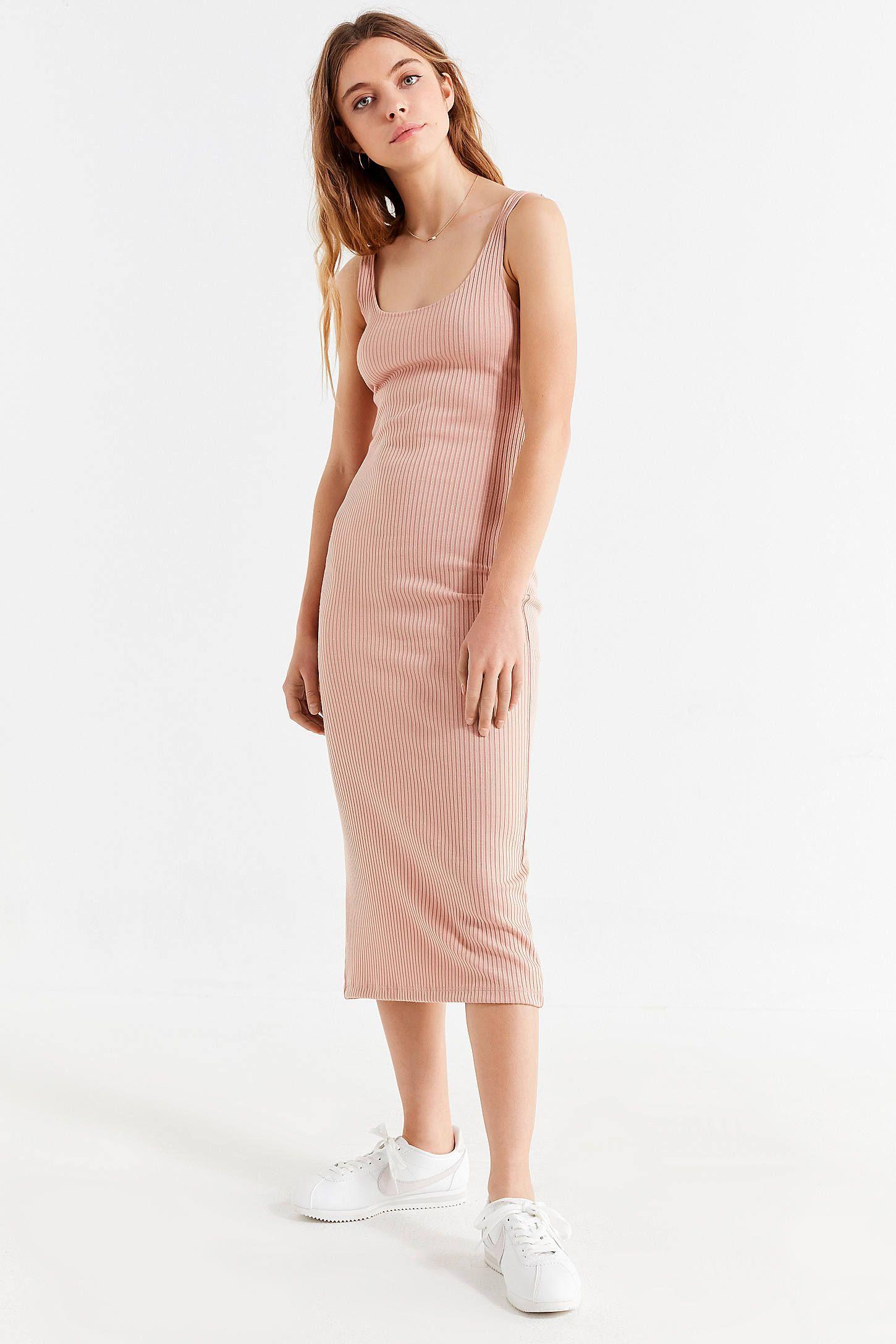 Uo Bella Ribbed Knit Bodycon Midi Dress Midi Dress