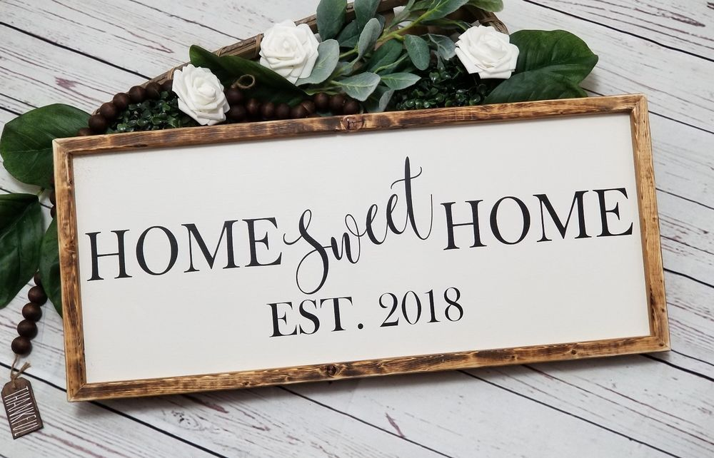 861447425b736 Home Sweet Home Established Sign, handmade home sweet home with date ...