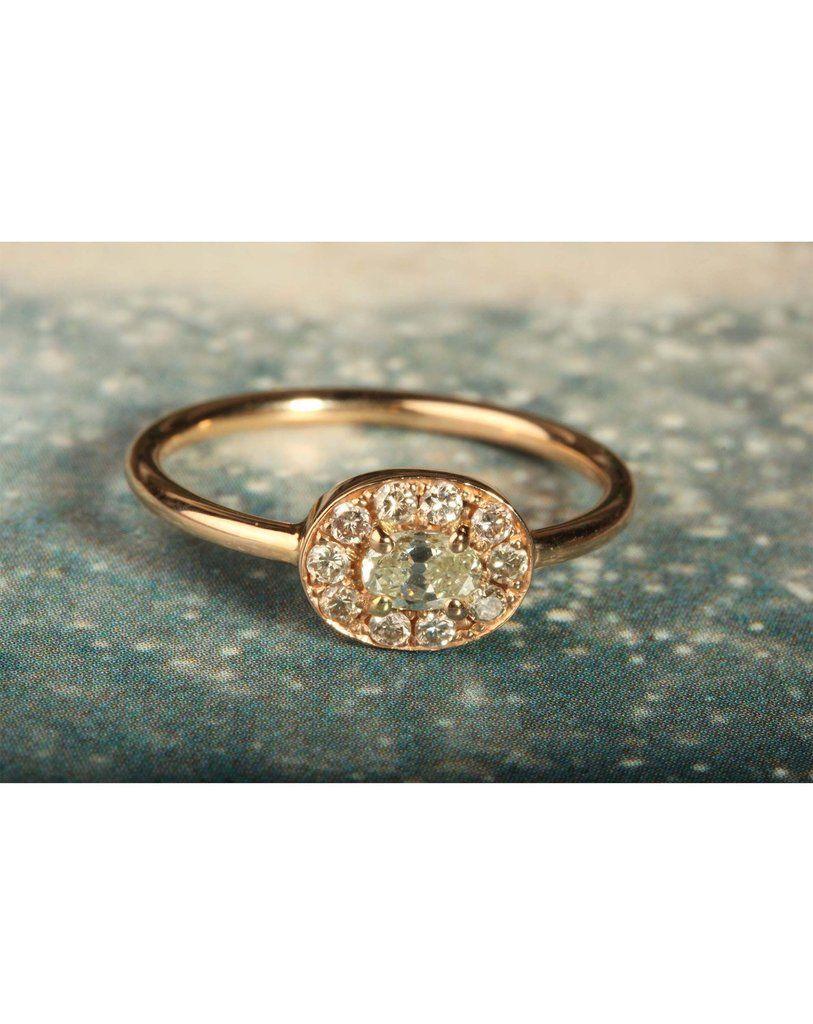 18ct Rose Gold Halo Ring Wedding