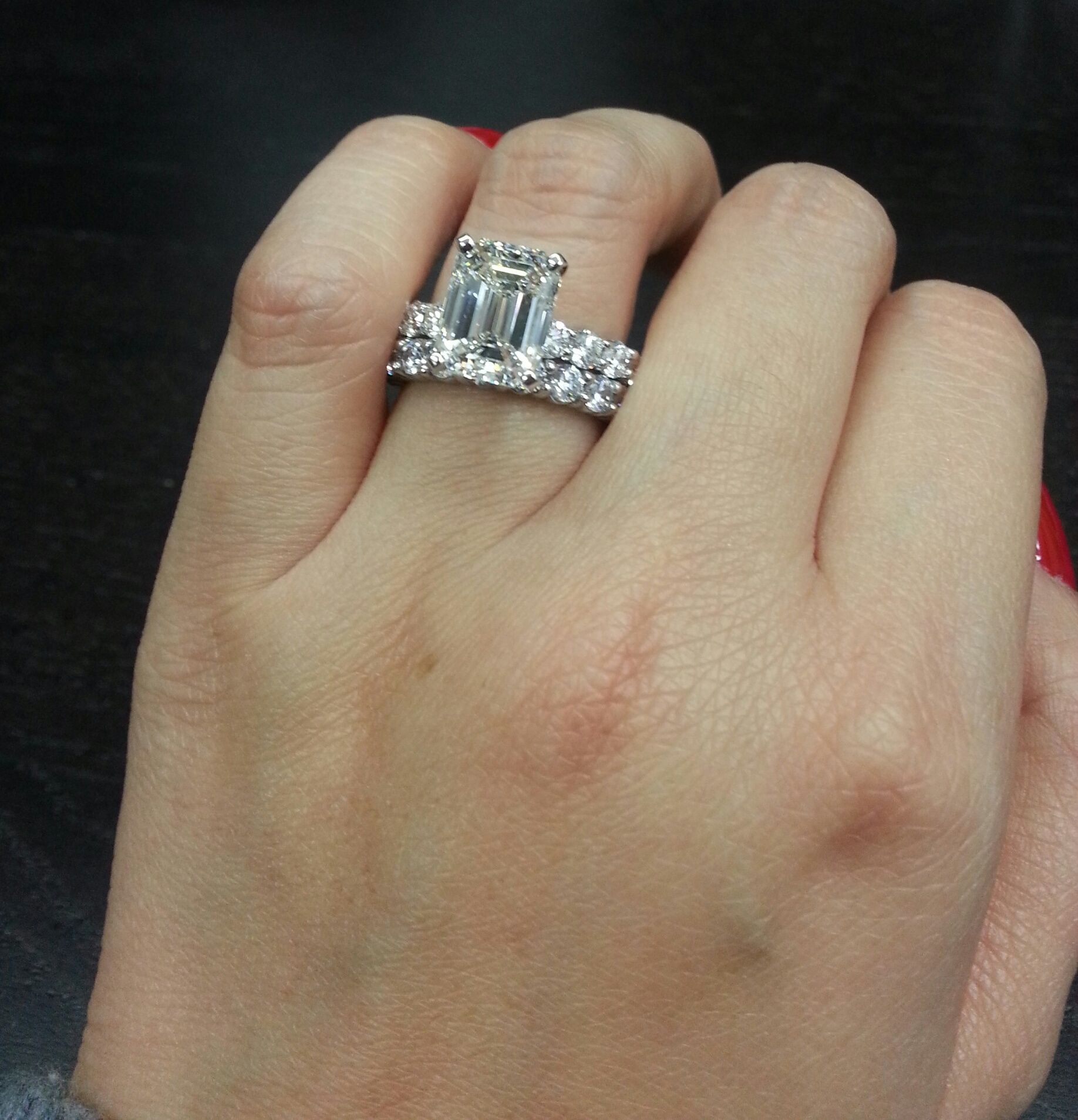 Celebritystyle dream ring 350 ct emerald cut diamond engagement