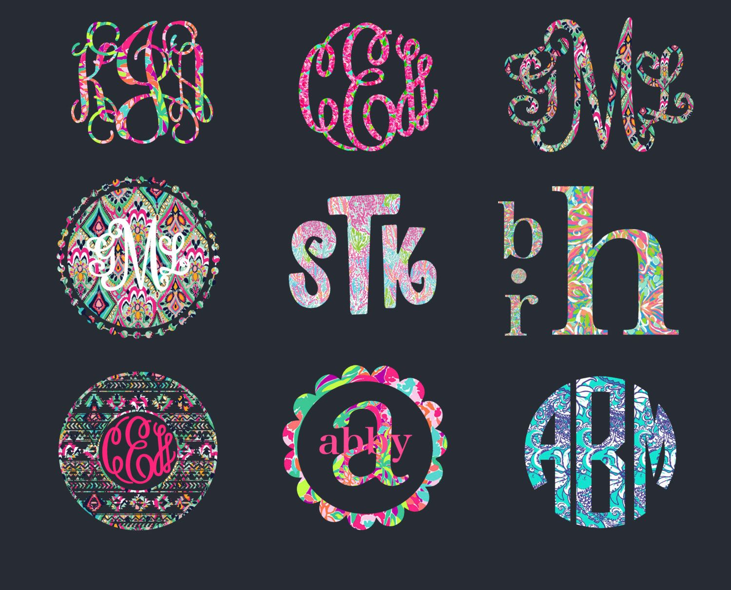 Patterned Monogram Decal For Your Car Window Cell Phone Laptop - Monogram decal for car window