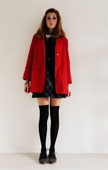 e11d2740e9 Leilou Shop Bordeaux Red Vintage Coat, Vintage Plaid Skirt, Calzedonia High  Socks Tights