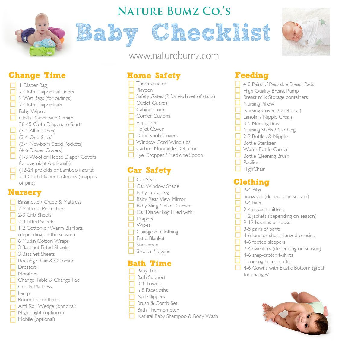 Nature Bumz Co 39 S New Baby Checklist Everything You