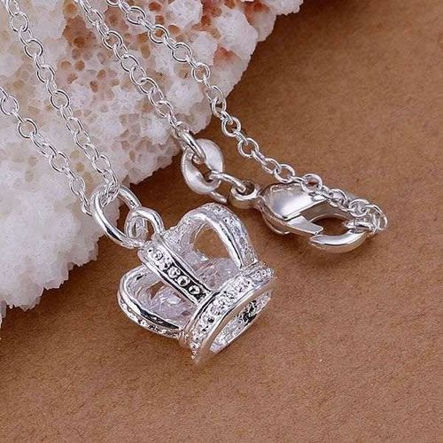 Free Shipping 925 Silver fashion jewelry Necklace pendants Chains, 925 silver necklace Inlaid stone crown pendant knnr lhax $0.99.... gift for damas