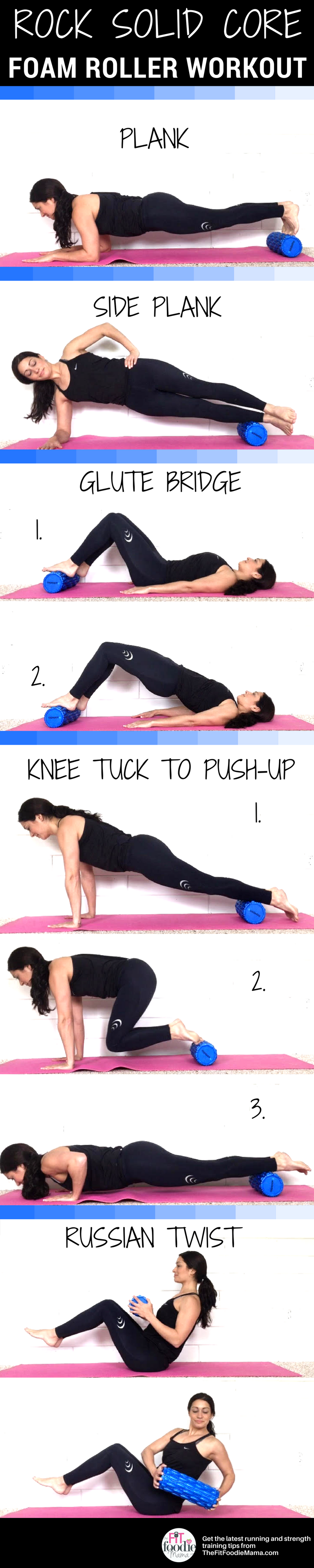Massage your tired muscles while you work up a sweat with this Rock Solid Core Foam Roller Workout! Add it to your running or strength training routine weekly to get stronger so you can run faster.