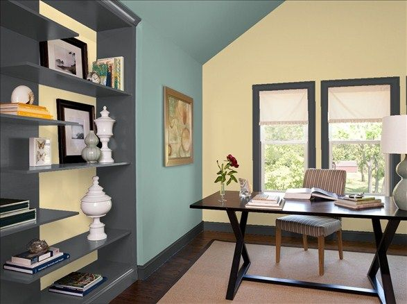 enchanting home office wall colors blue | Home Office Hideaway! Wall & Bookshelf Inset Color: Amulet ...