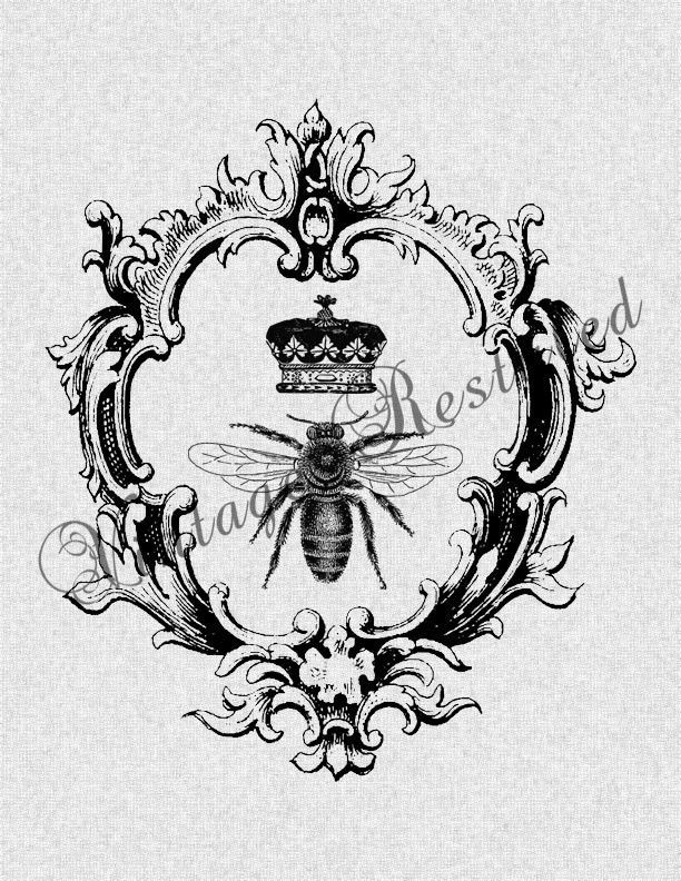 Queen Bee With Crown In Vintage Frame Iron On Transfer Digital