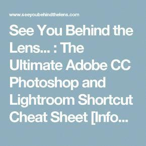 You Behind the Lens... : The Ultimate Adobe CC Photoshop and Lightroom Shortcut Cheat Sheet [Infographic]