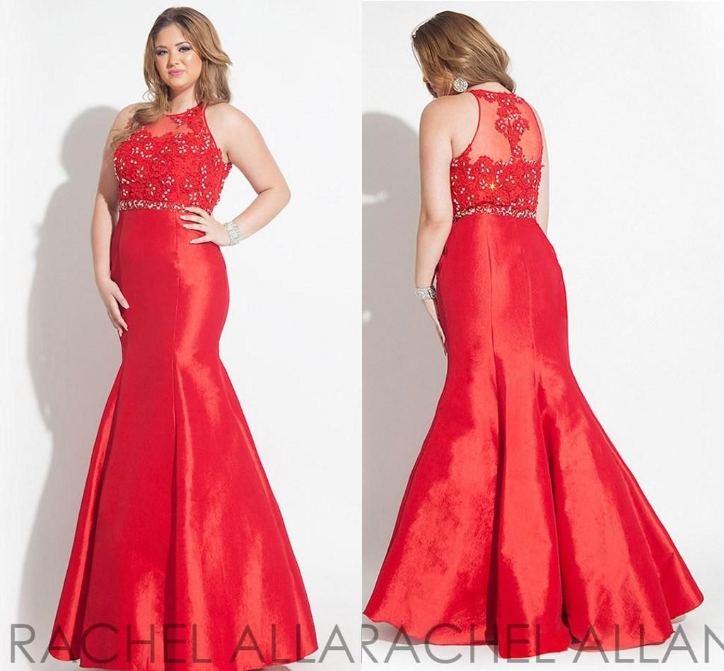 Discount crystal red mermaid long plus size prom dresses with sheer