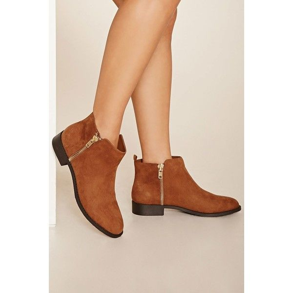 Forever 21 Women's  Zippered Ankle Booties (550 MXN) ❤ liked on Polyvore featuring shoes, boots, ankle booties, block heel boots, zippered ankle booties, forever 21 boots, zipper ankle boots and forever 21