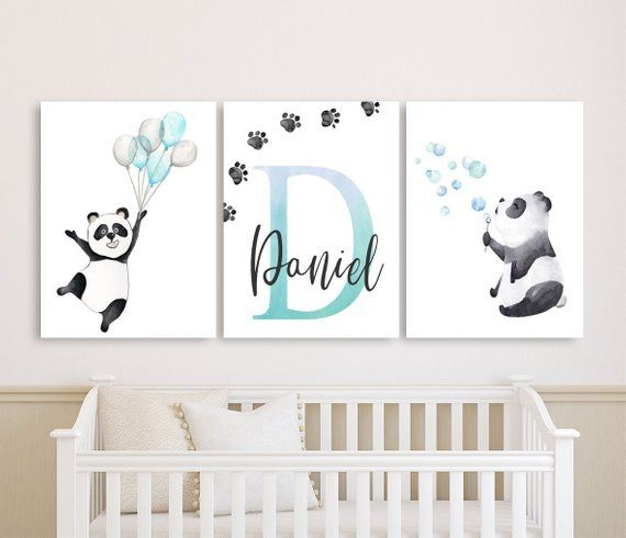 Panda Nursery Decor Baby Boy Personalized Canvas