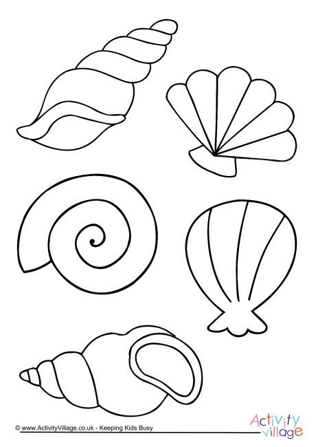 Shell Colouring Page Coloring Pages Felt Crafts Mermaid Theme