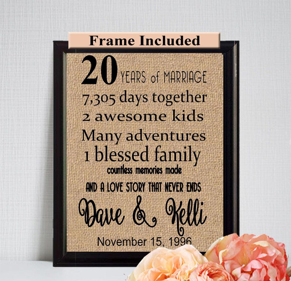 20 year Anniversary Gifts/ 20 year anniversary/ Gift for