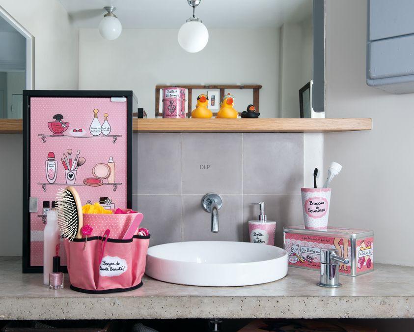 Badkamer Accessoires Roze : Derriere la porte badkamer inspiratie roze opberg accessoires