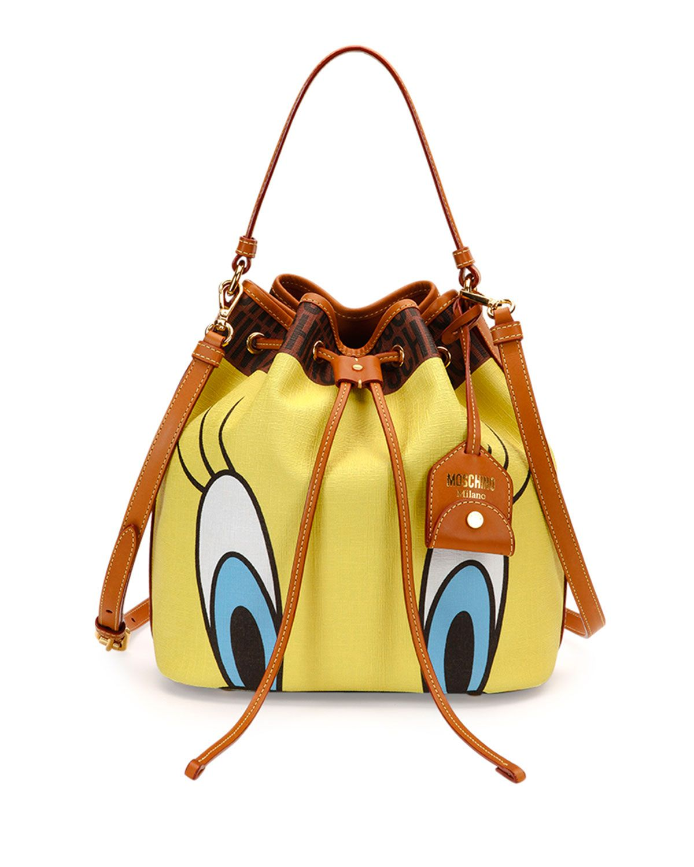 Moschino logo-print PVC Tweety Bird Bucket Bag