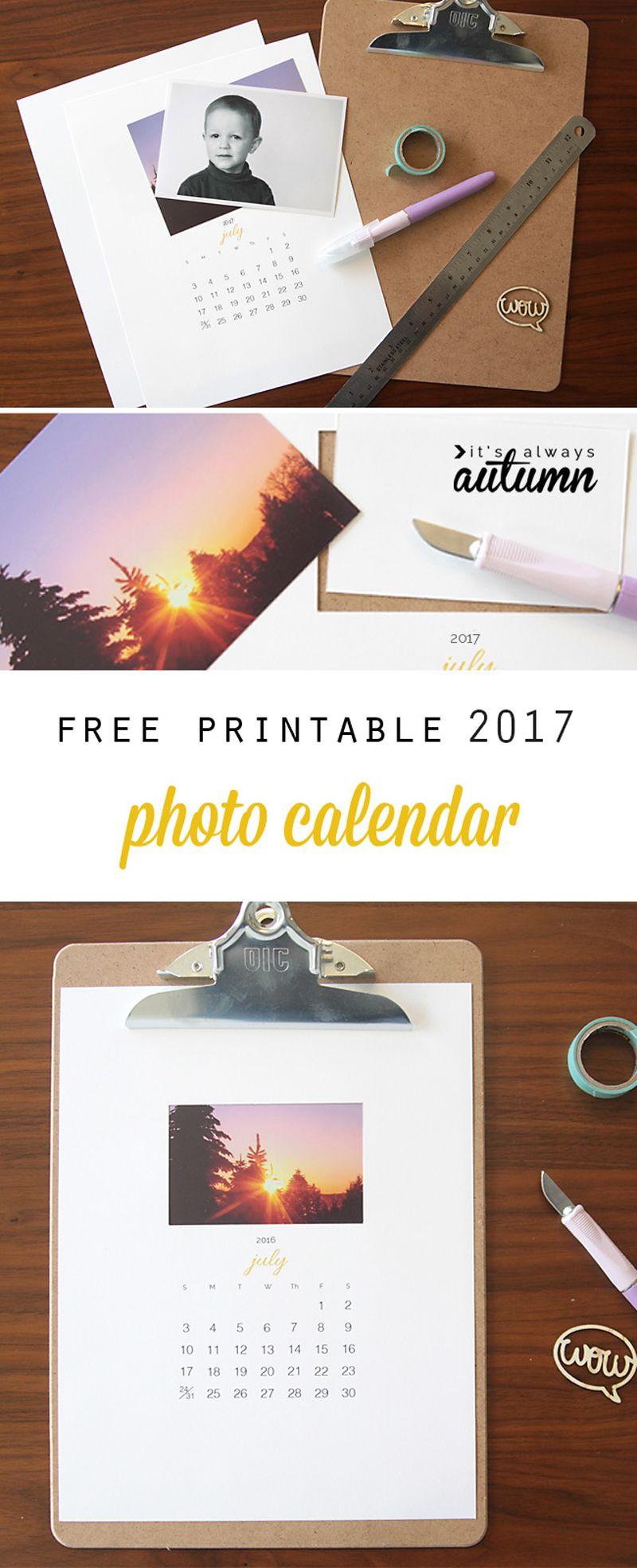da8a356dbedc48 Awesome DIY gift idea! Free printable 2017 photo calendar makes an easy