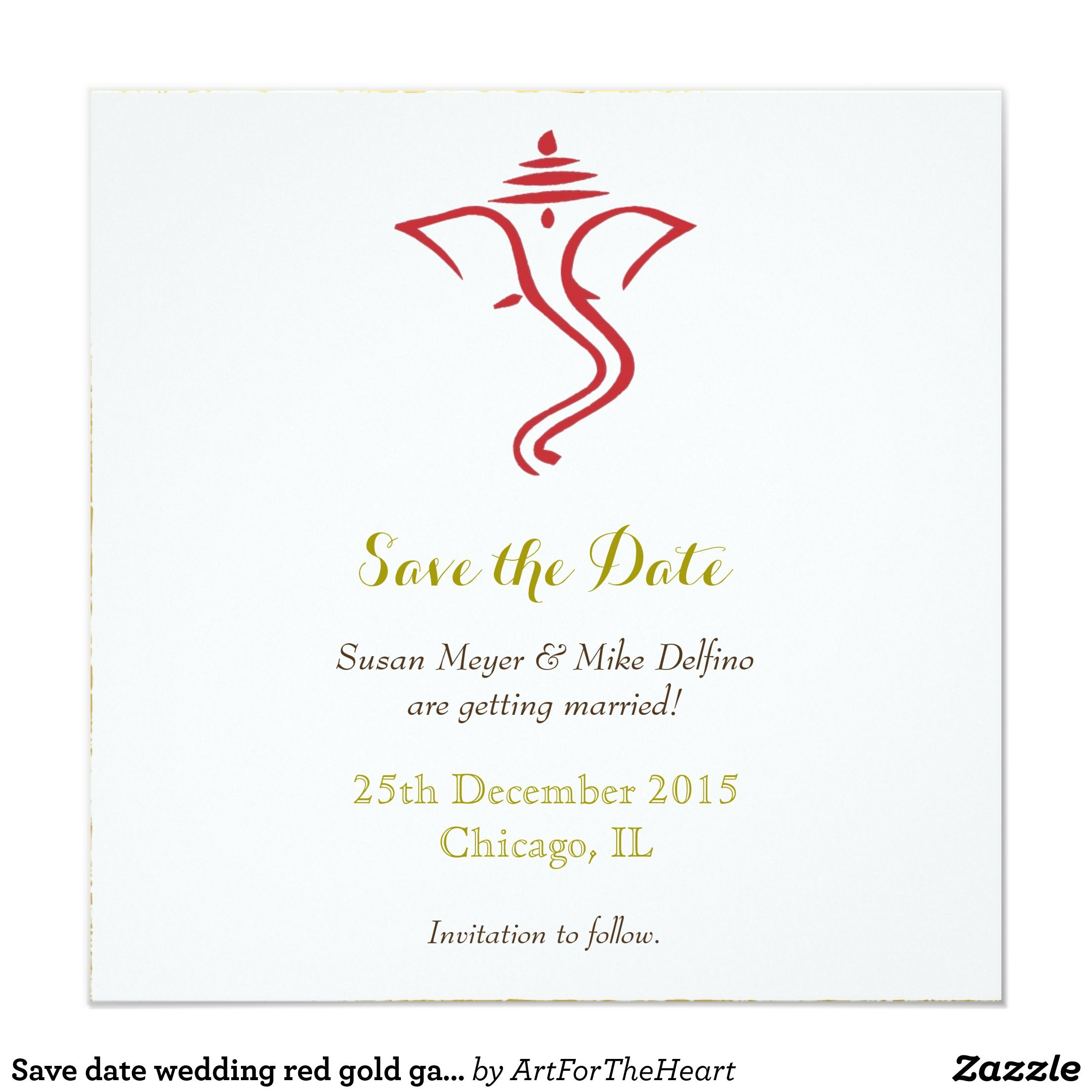 Save Date Wedding Red Gold Ganpati Ganesh Hindu Save The
